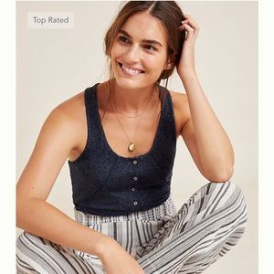 Anthropologie LUCIE Ribbed Racerbacn Tank Top Navy